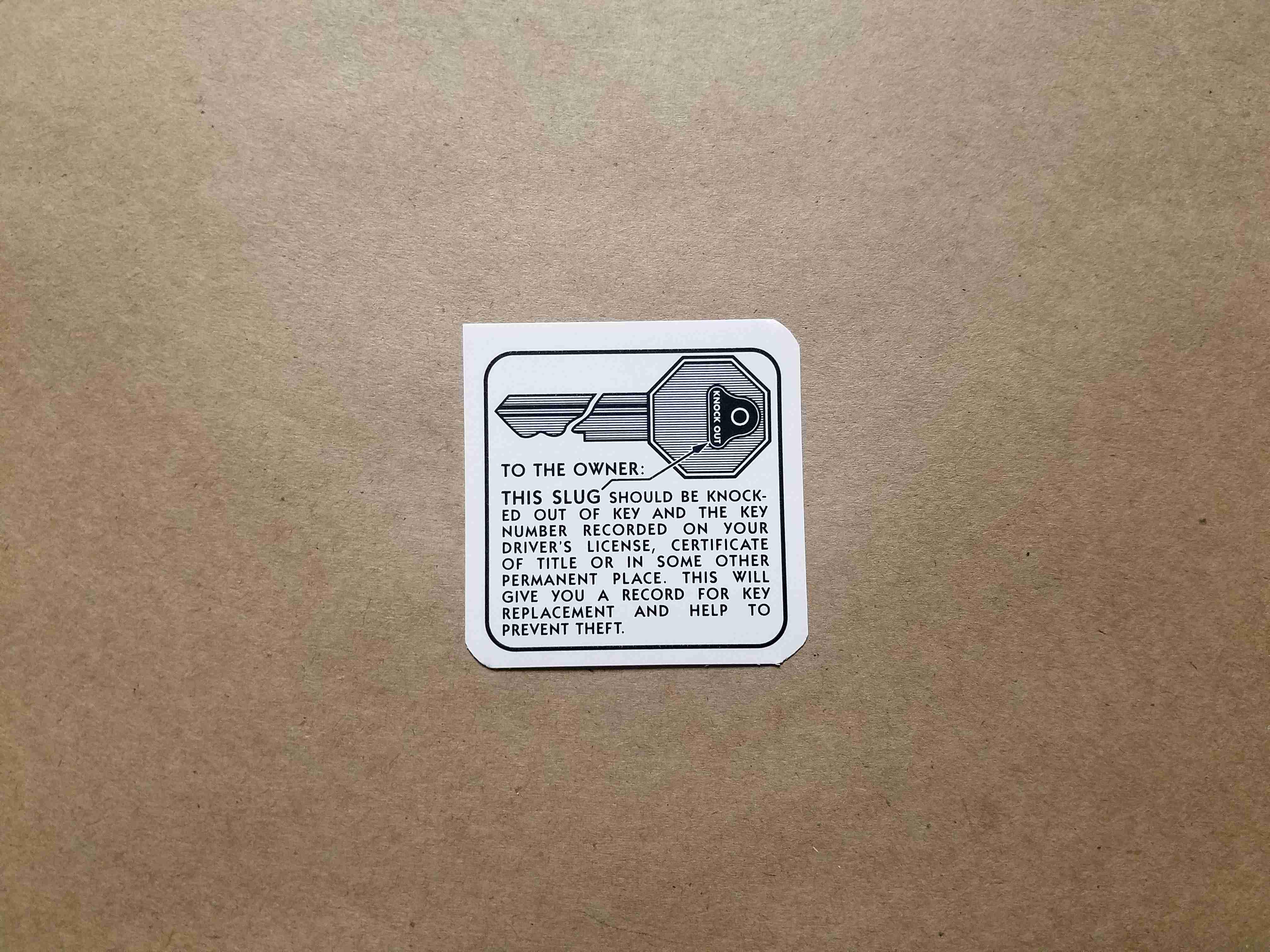 1936-58 Glove Box Key Instruction Decal