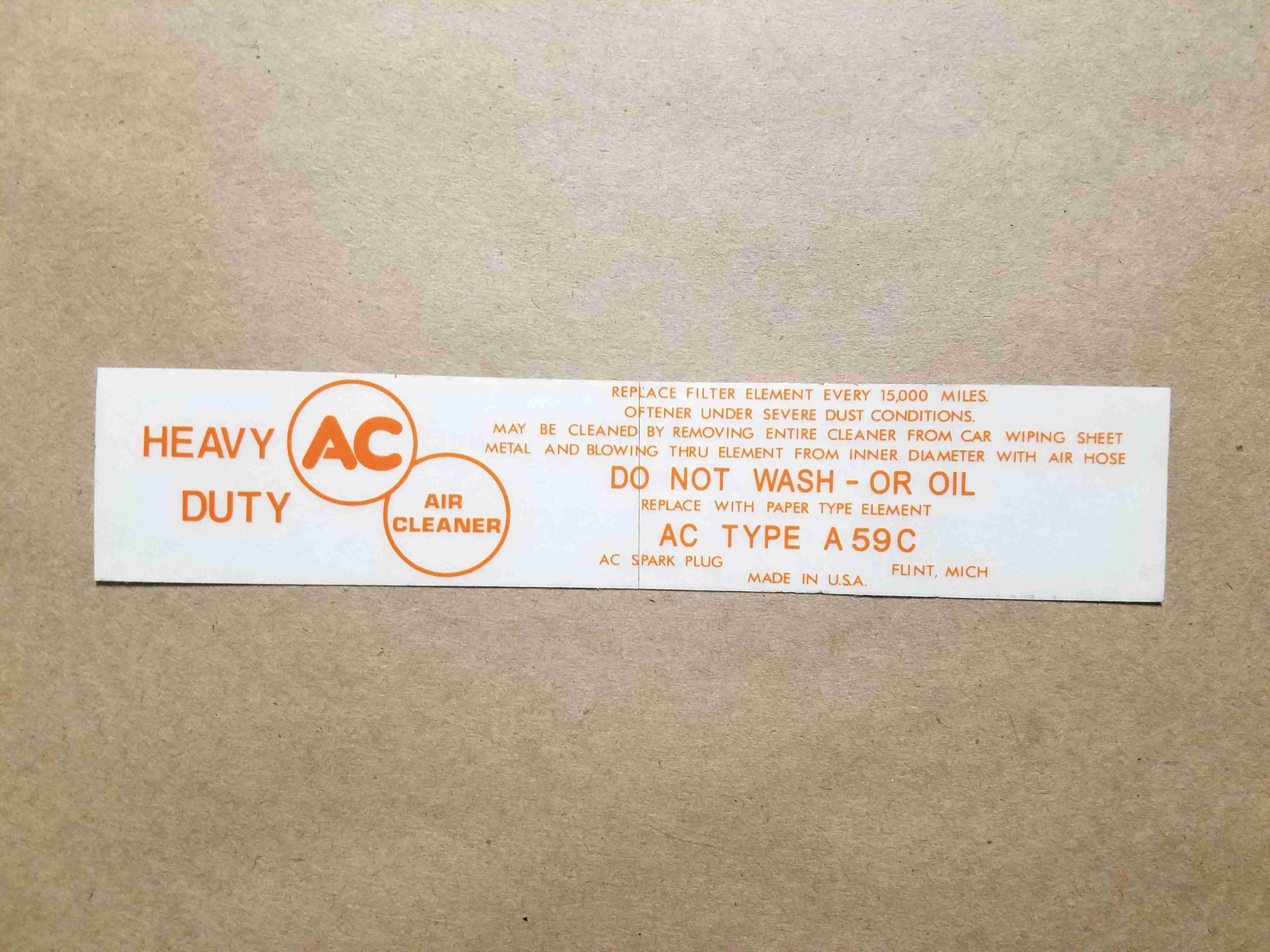 1957 All Orange Air Cleaner Service Instruction Decal, rectangular, for A59C paper element air cleaner
