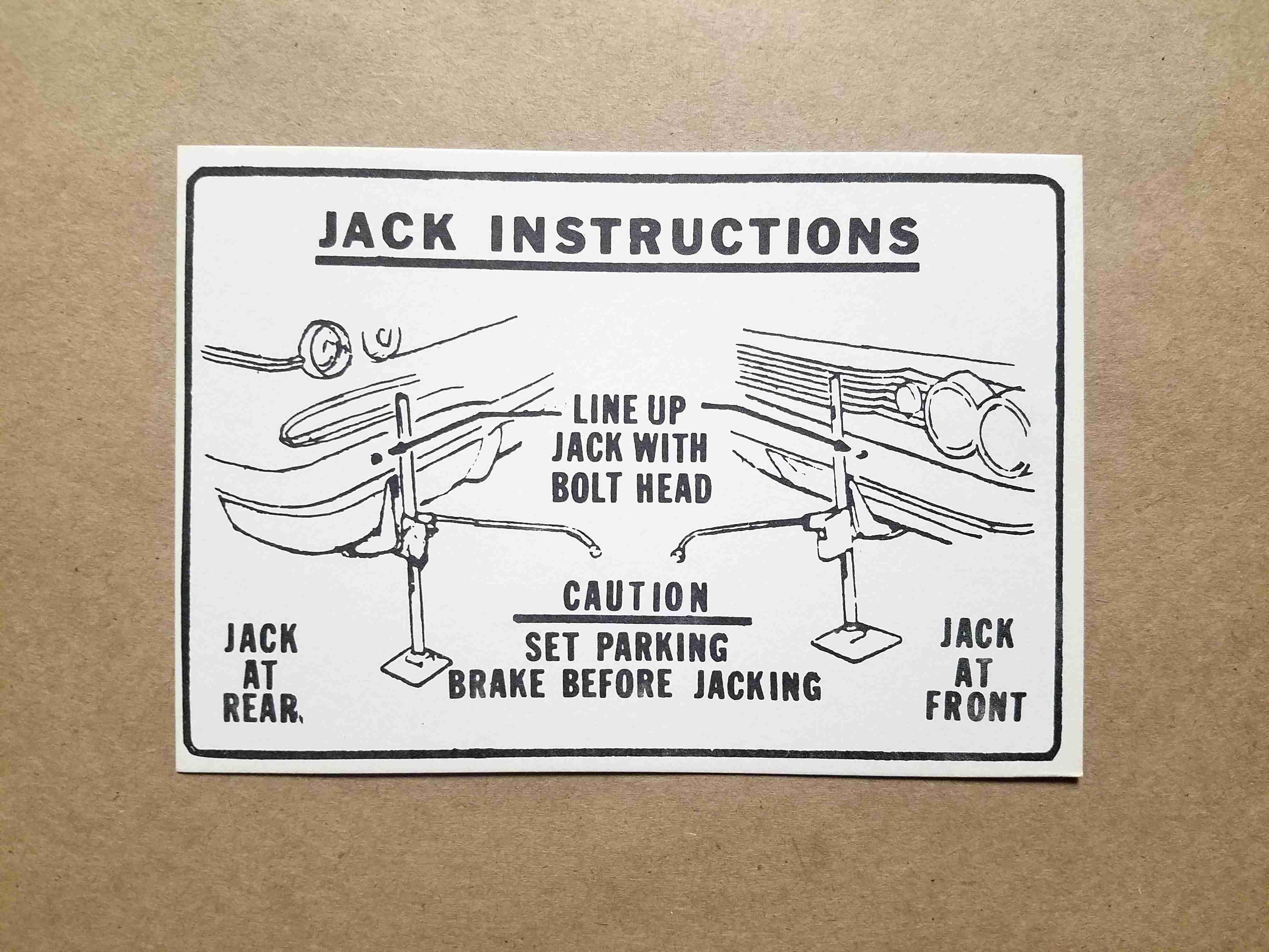 "1960 Jack Instruction Card, 2""x2-1/2"""