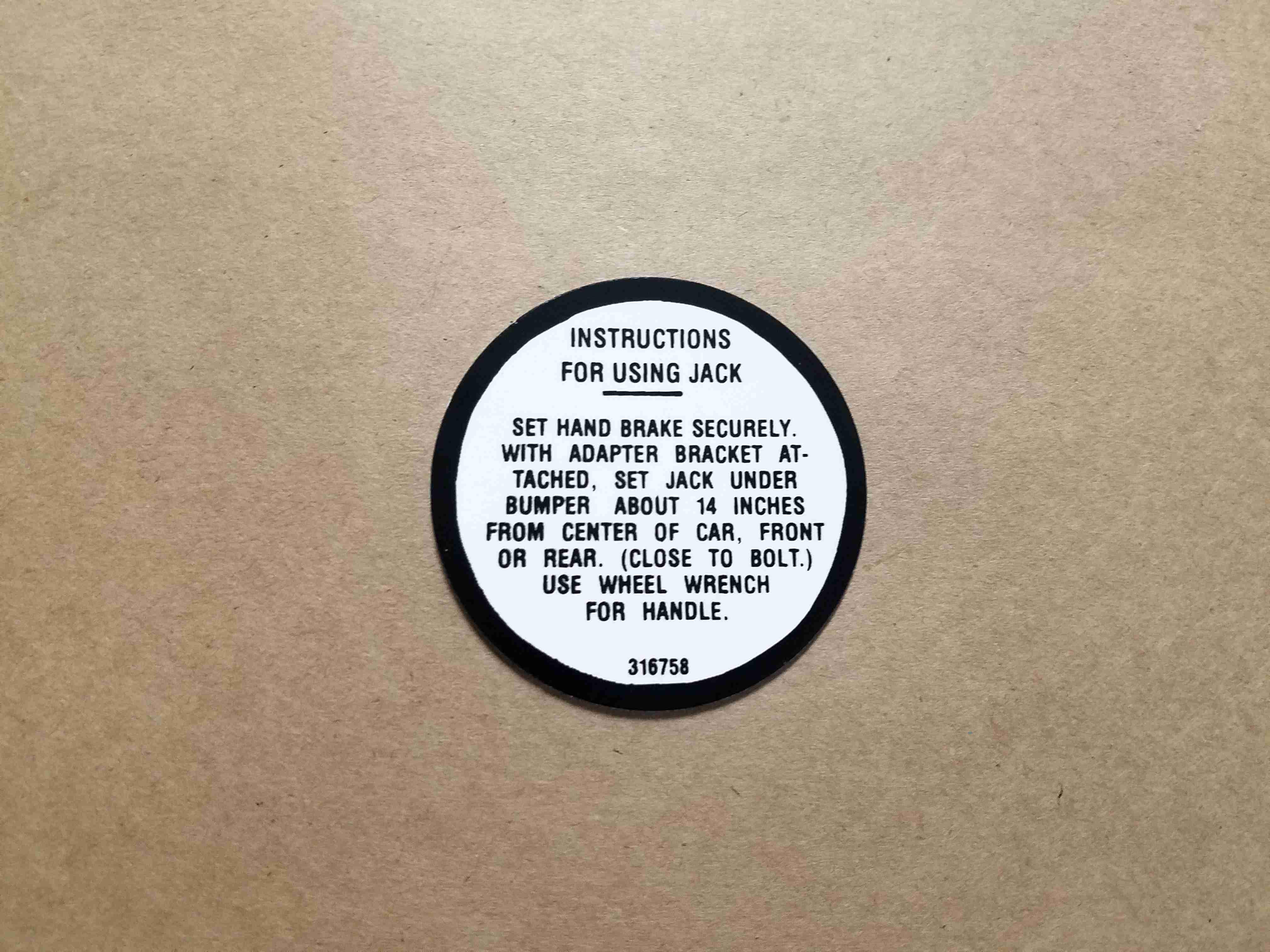 "1957 Jack Base Decal, on decal: 316578, 2"" circle"
