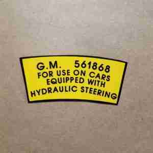 1952-56 Power Steering Pump Pulley Decal, on decal: 561868