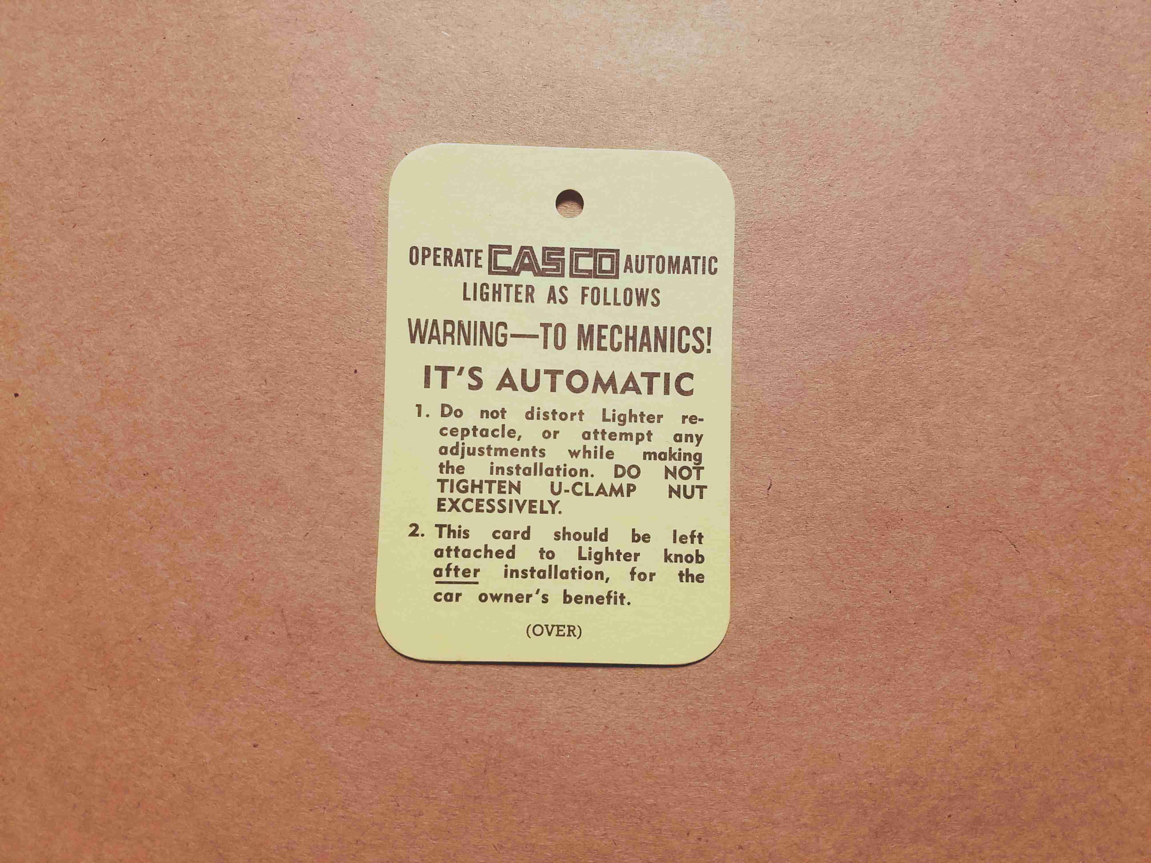 1926-60 Casco Lighter Instruction Tag