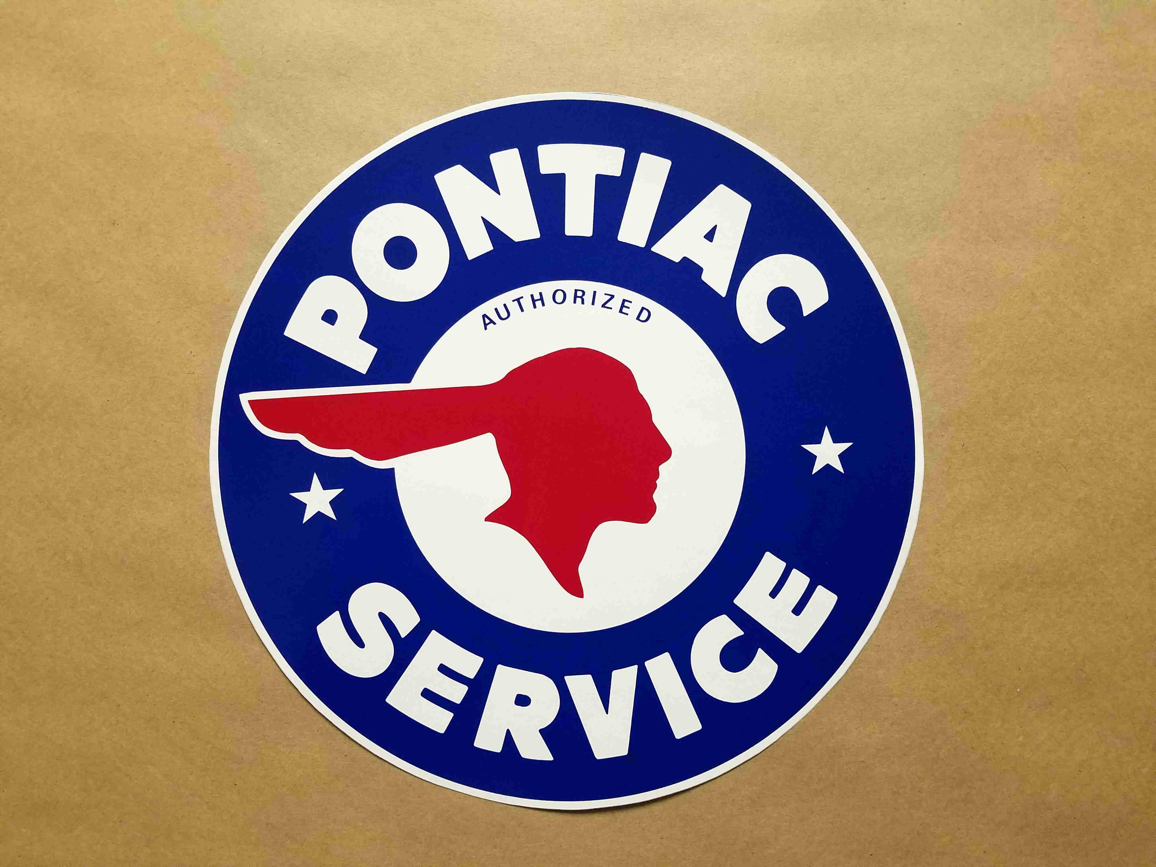 "1926-58 10"" Round Indian Head ""Pontiac Authorized Service"" Decal"