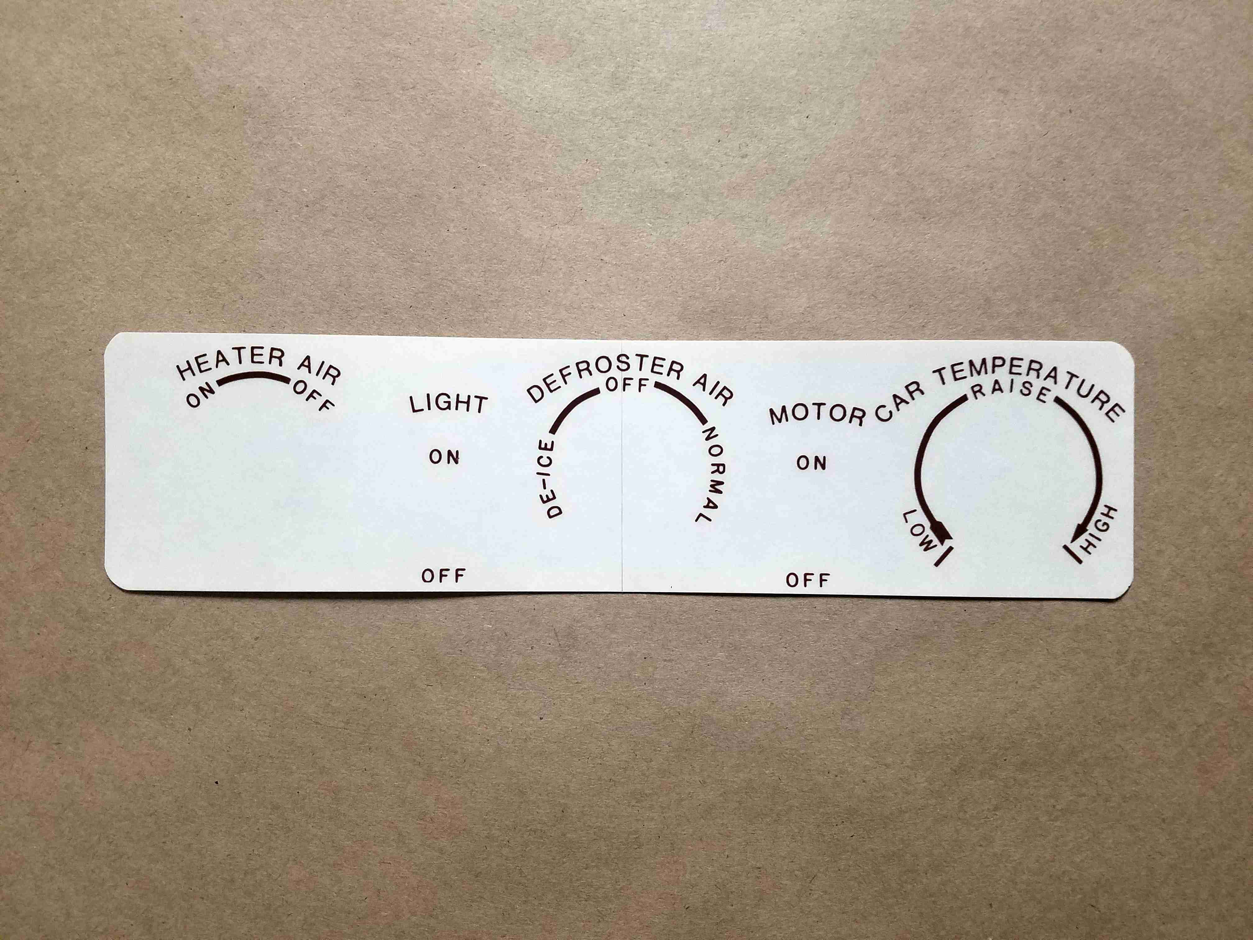 1942-47 Brown Heater Control Panel Decal