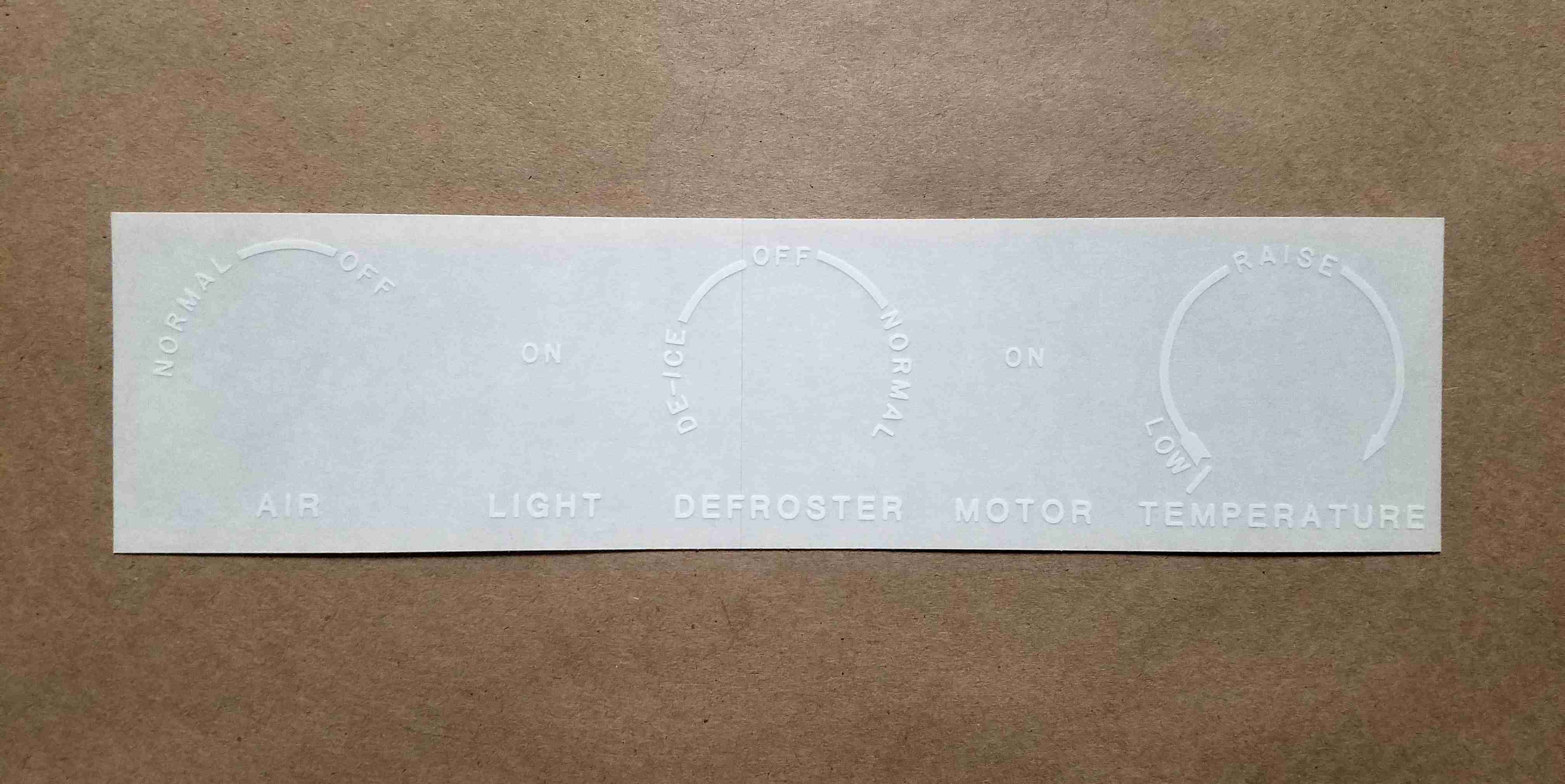 1948 White Heater Control Panel Decal