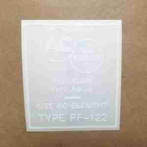 """1955-60 Oil Filter Decal, """"Use AC Element Type PF-122"""""""