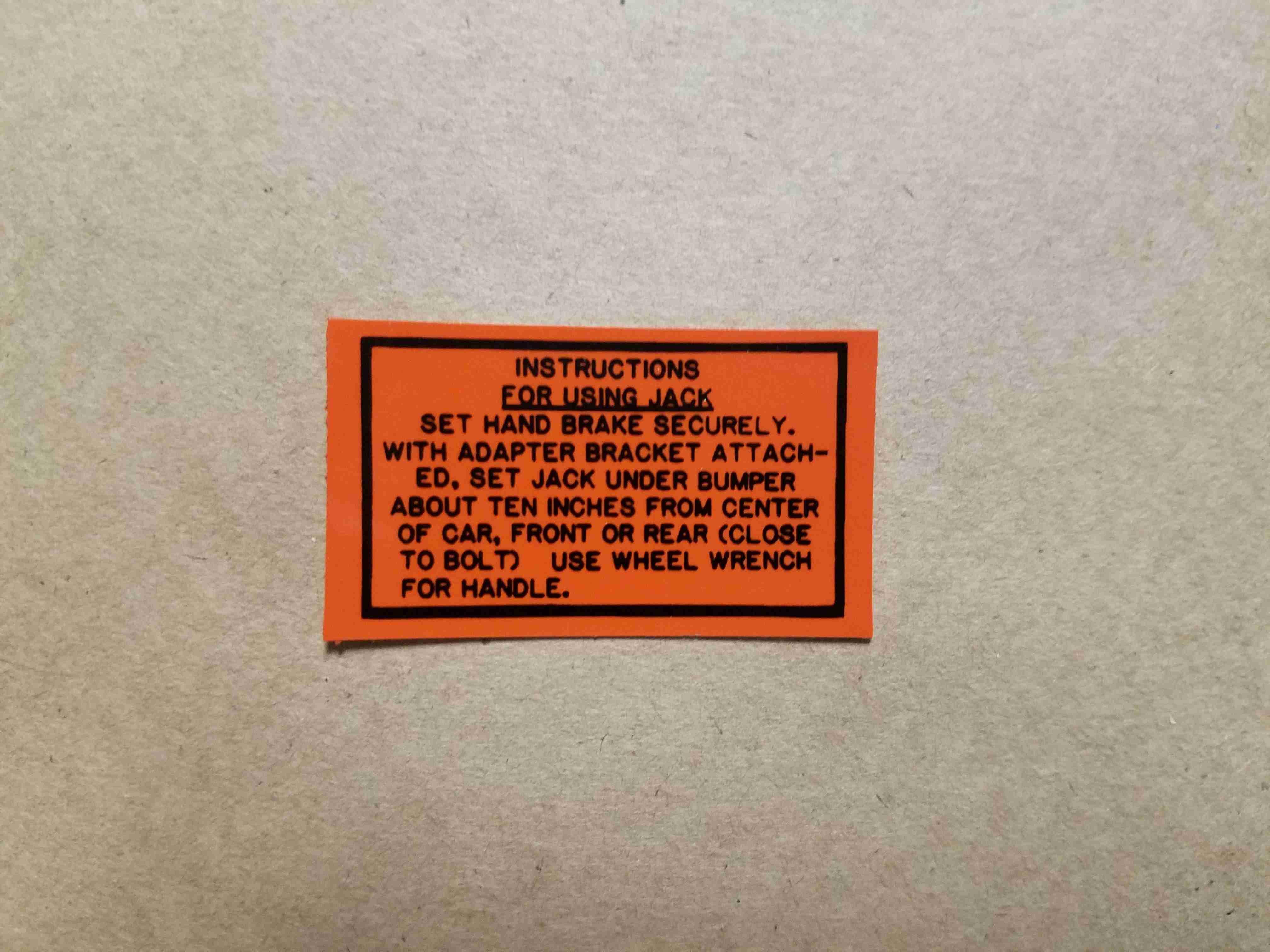 "1956-57 Jack Instruction Decal, 1-3/4""x1"""
