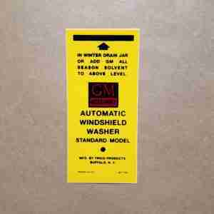 1950-61 GM Windshield Washer Bottle Bracket Decal, on decal: 6477-50