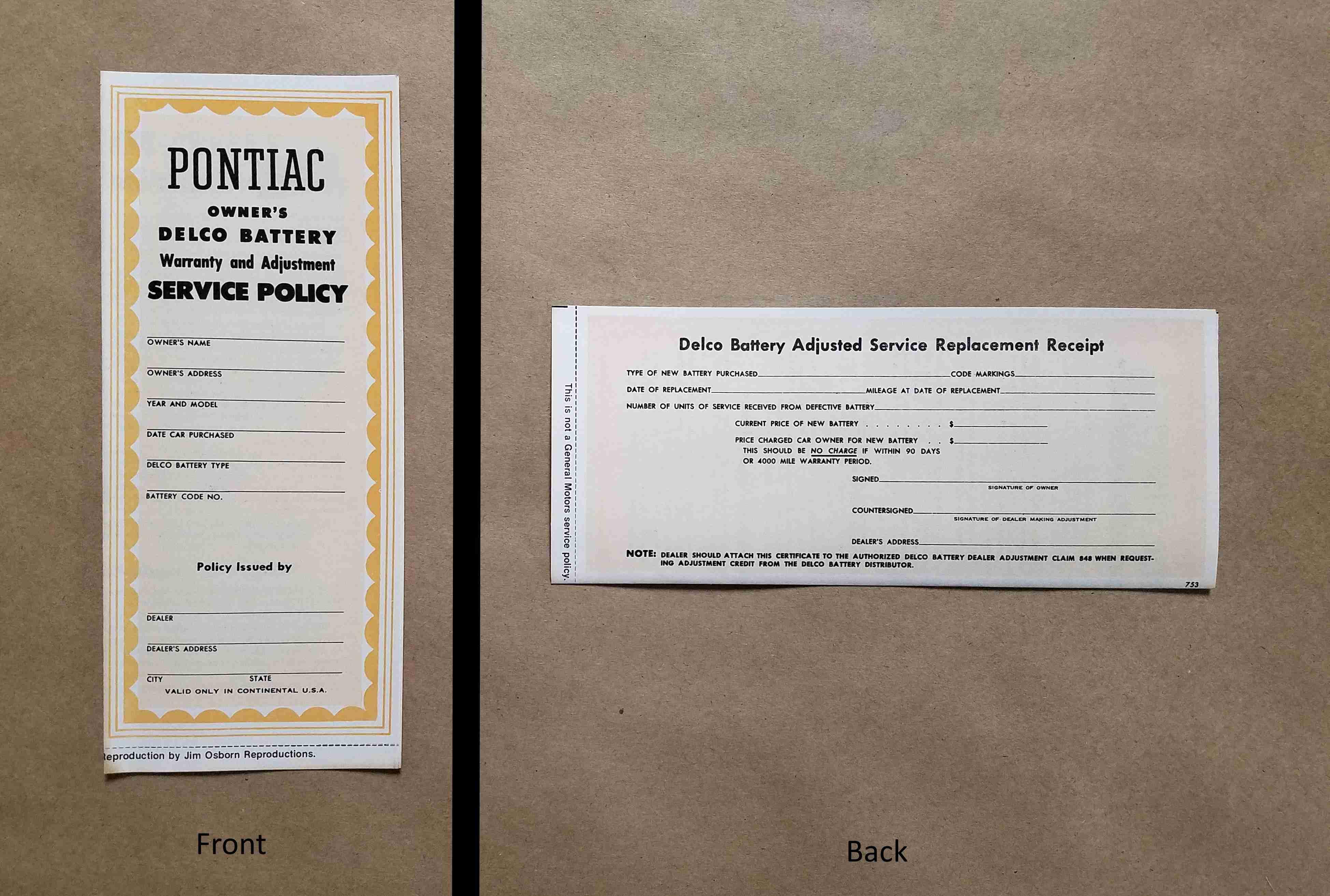 1939-55 New Vehicle Battery Warranty Certificate