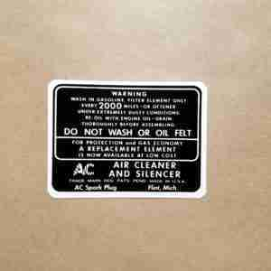 1934-48 White Dry Style Air Cleaner Service Instruction Decal, rectangular, 1934 P8, 1935-48 All