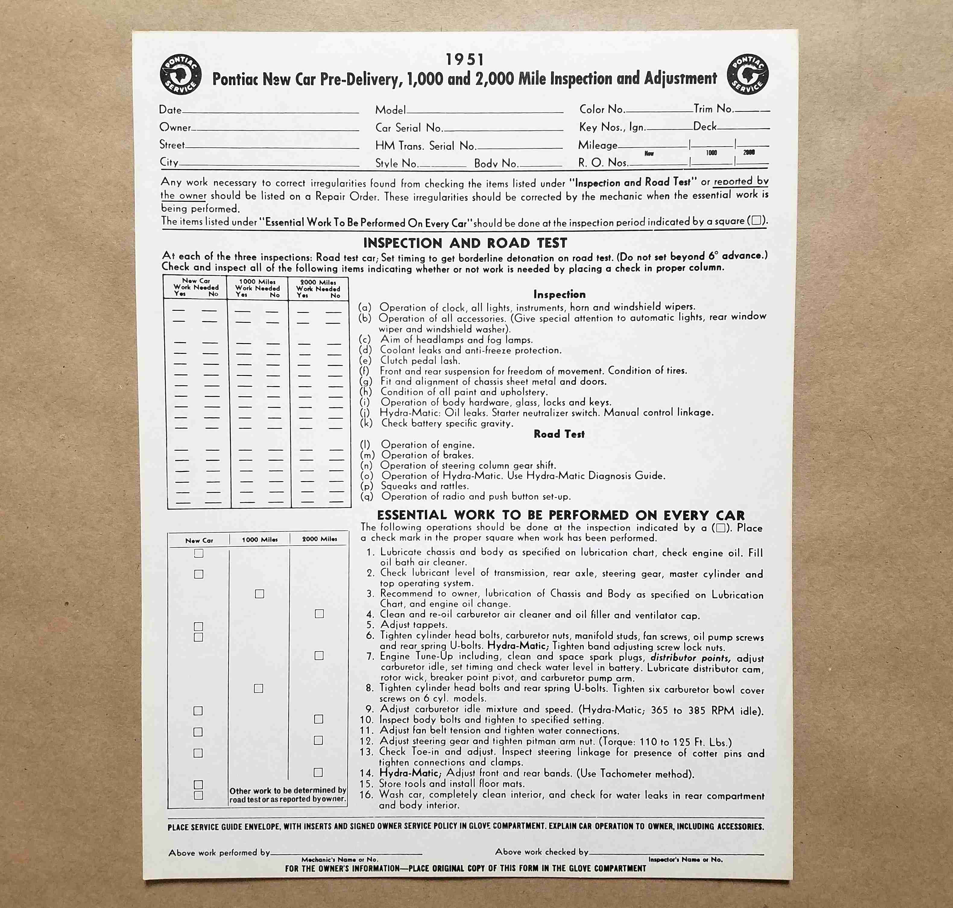 1951 New Vehicle Pre-Delivery Sheet