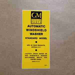 1940-60 Trico Windshield Washer Bracket Decal, on decal: 6472