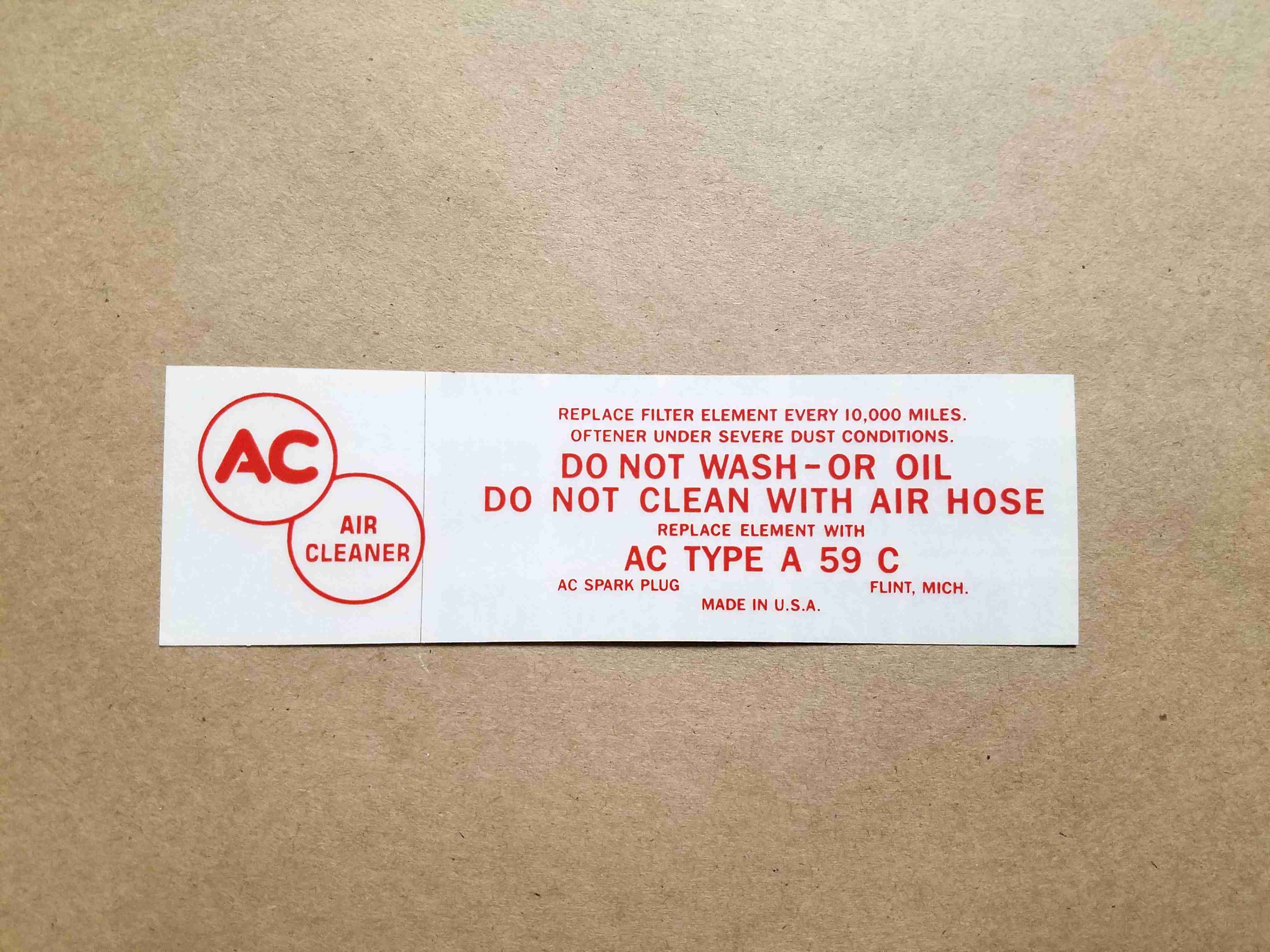 1958 w/ Tripower Red Air Cleaner Service Instruction Decal, rectangular, for A59C paper element air cleaner