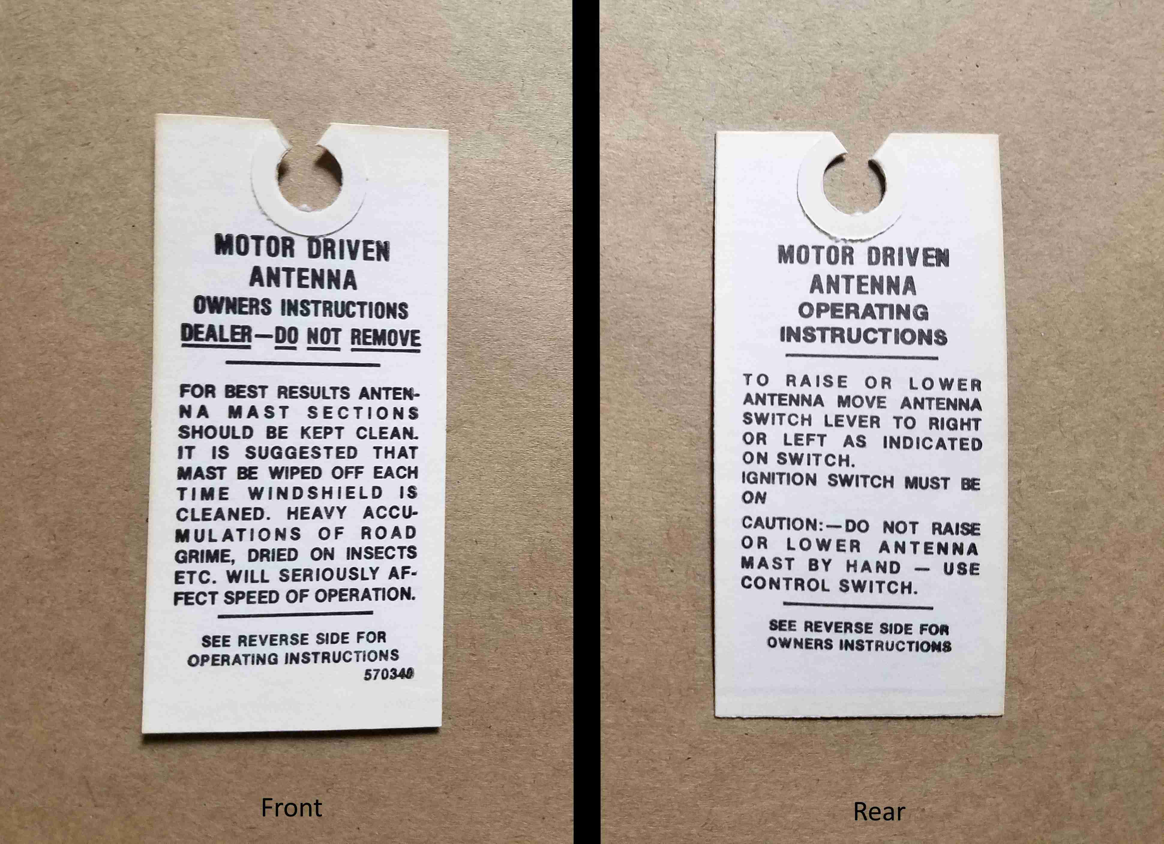 1958-63 Electric Antenna Instruction Paper Tag, on tag: 570340