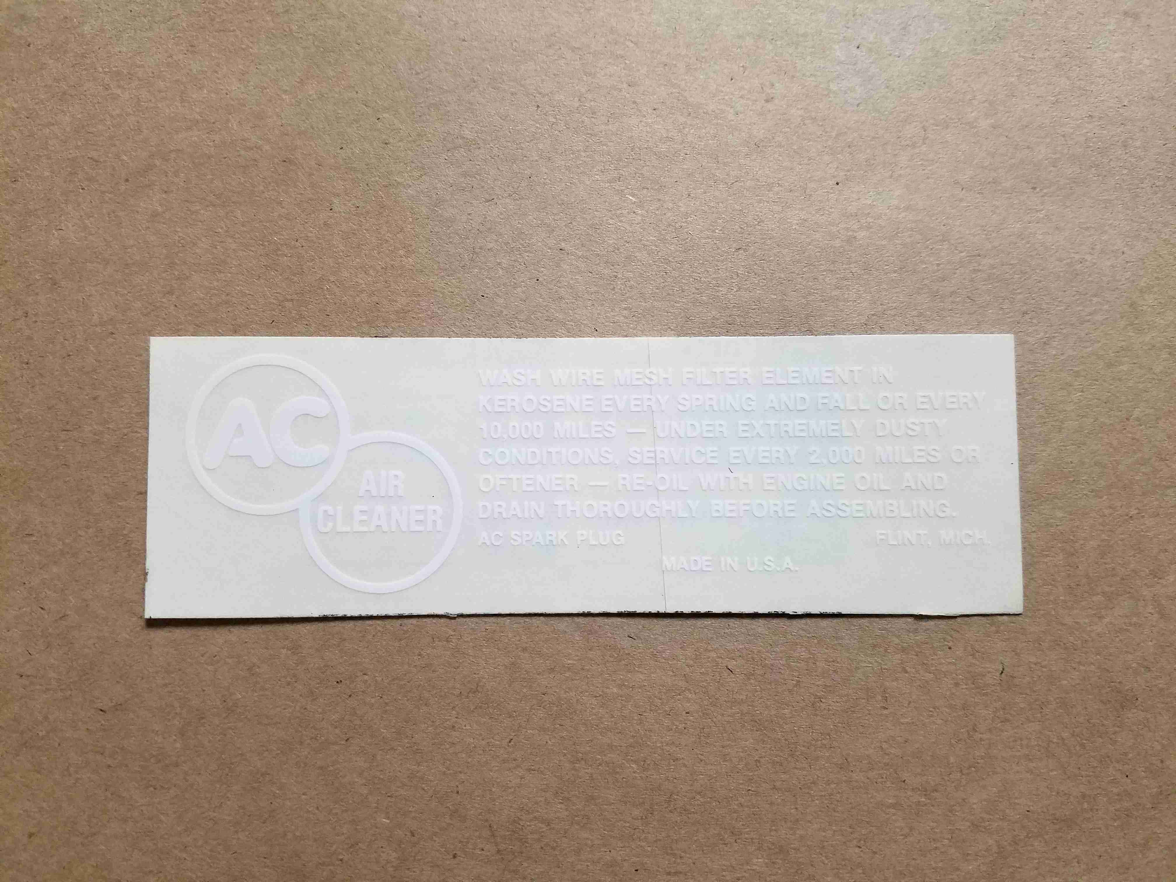 1959-65 w/ 2-Barrel or 4-Barrel Carburetor White Air Cleaner Service Instruction Decal, for A180C mesh type air cleaner element, fits 1959-64 2bbl 4bbl 61-63 T4 1bbl 65 P8 2bbl 4bbl