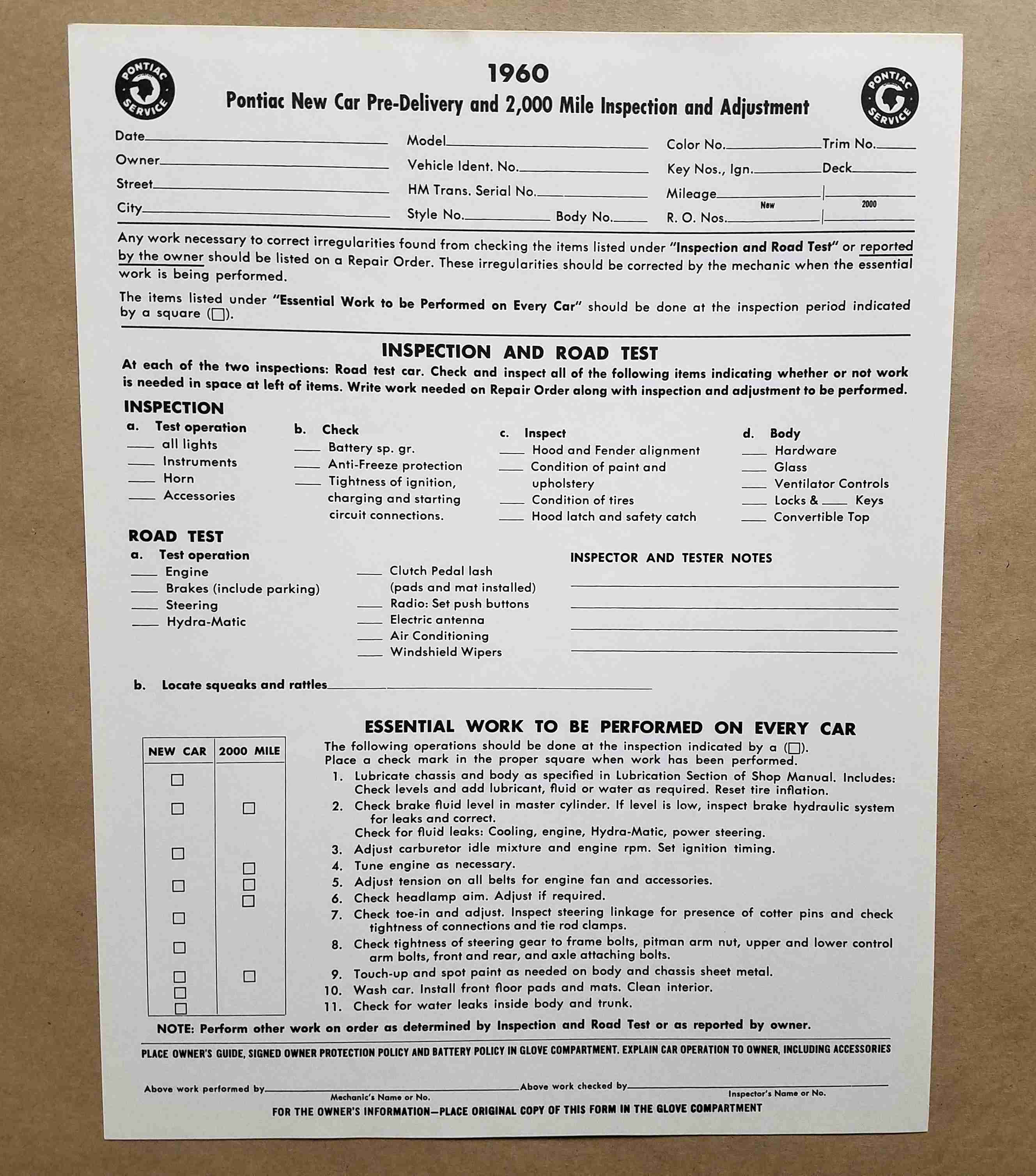 1960 New Vehicle Pre-Delivery Sheet