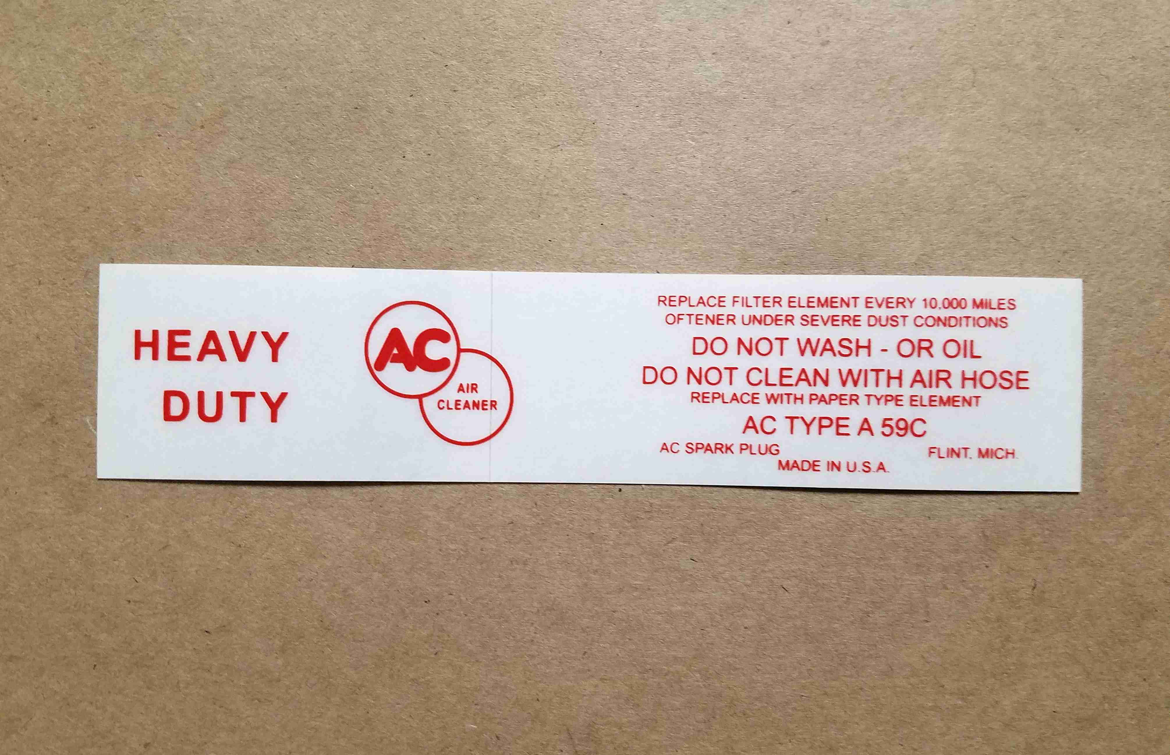 1959-60 w/ Tripower Air Cleaner Service Instruction Decal, for A59C paper element air cleaner